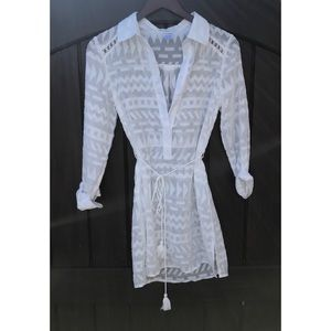 L Space White Sheer Aztec Bathing Suit Coverup